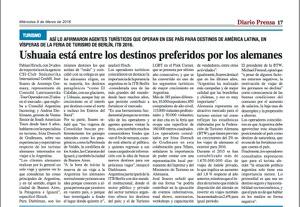 Artículo Irina Domsch de Grassmann en Diario Prensa